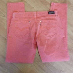Levi's 524 too super low rise coral skinny jeans
